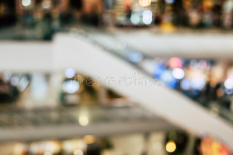 Blur people shopping mall center department store in weekend. stock image
