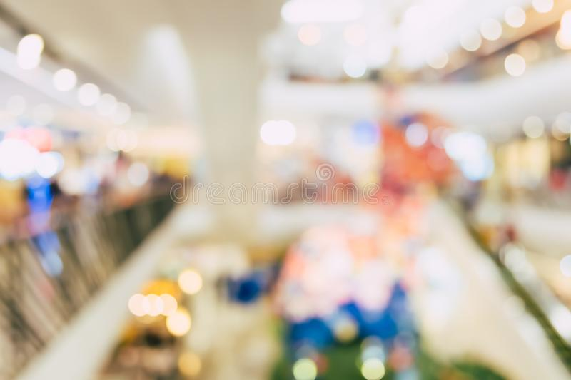Blur people shopping mall center department store in weekend. stock photography