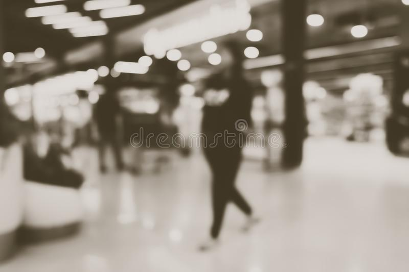 Blur people shopping mall center department store in weekend. royalty free stock images