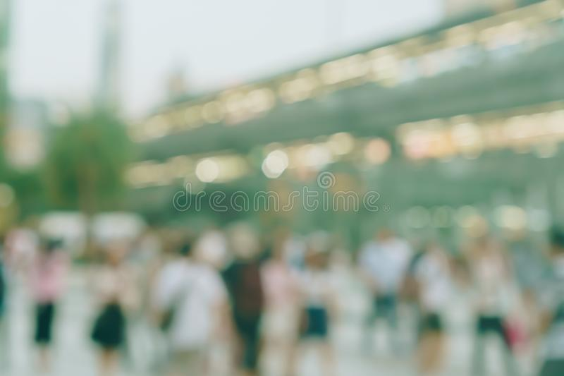 Blur people walking and shopping at shopping center in town stock photography