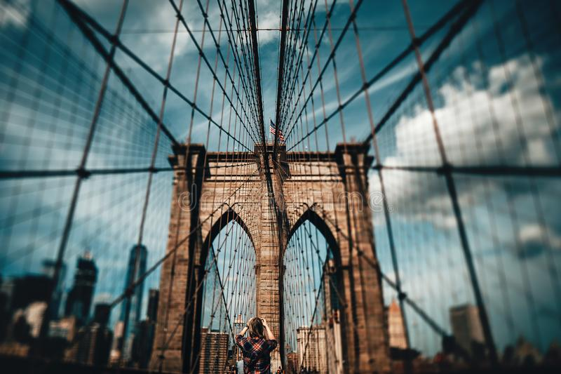 Blur Photo of Brooklyn Bridge at Daytime stock photography