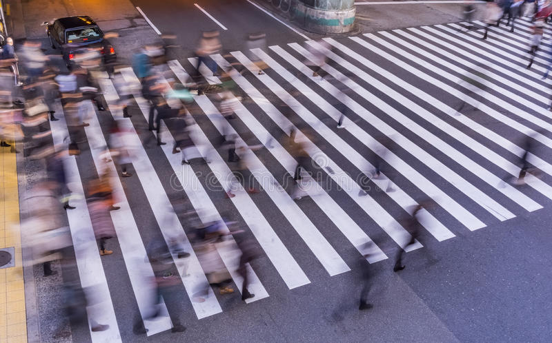Blur Photography of Pedestrian crossing . Blur Photography of Pedestrian crossing, Busy people go to work in the morning royalty free stock images