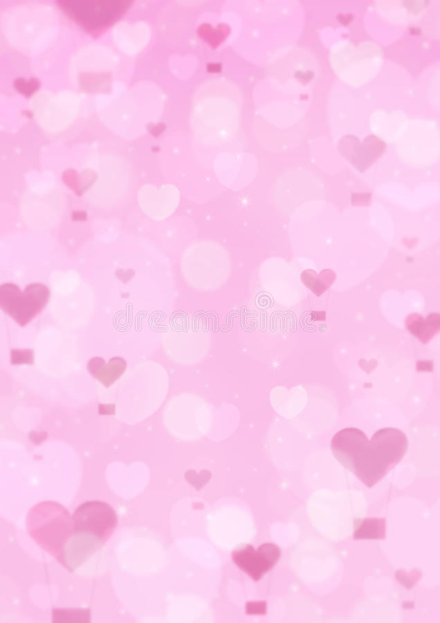 Blur pink heart air balloon on pink bokeh background, love concept stock image