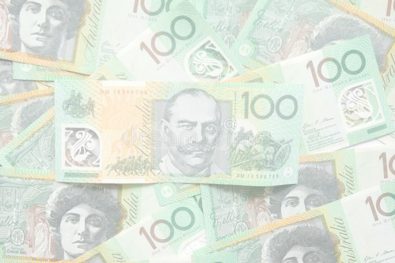 Group of 100 dollar Australian notes for background royalty free stock image