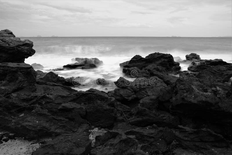 Sea black and white royalty free stock photo