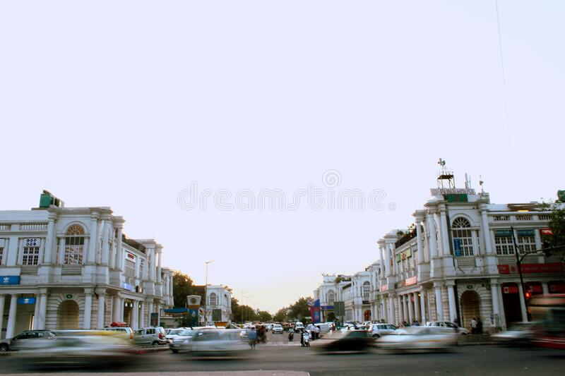Blur of traffic on city streets royalty free stock photos