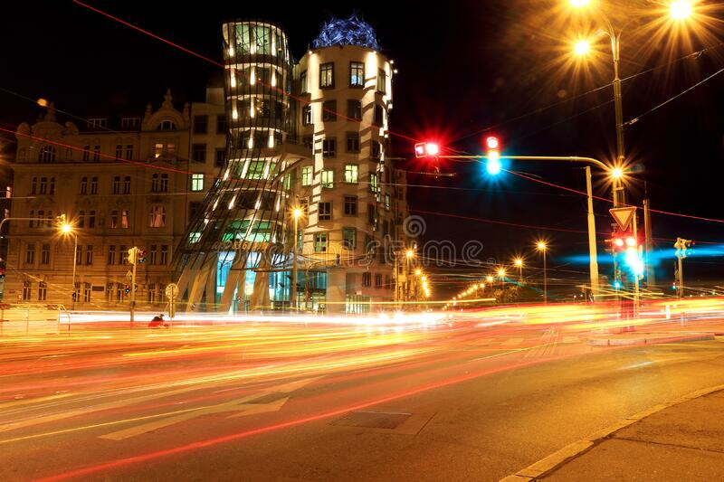 Blur of traffic on road at night stock photo