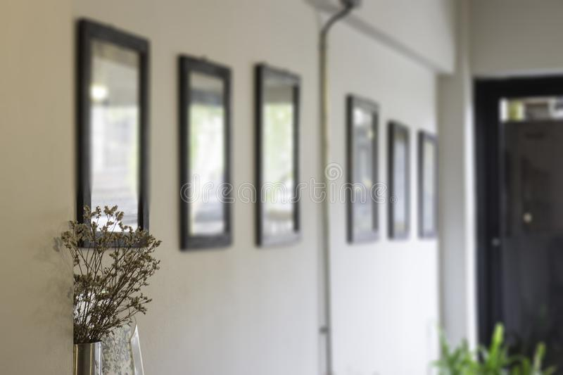 Blur wall of picture frames royalty free stock image