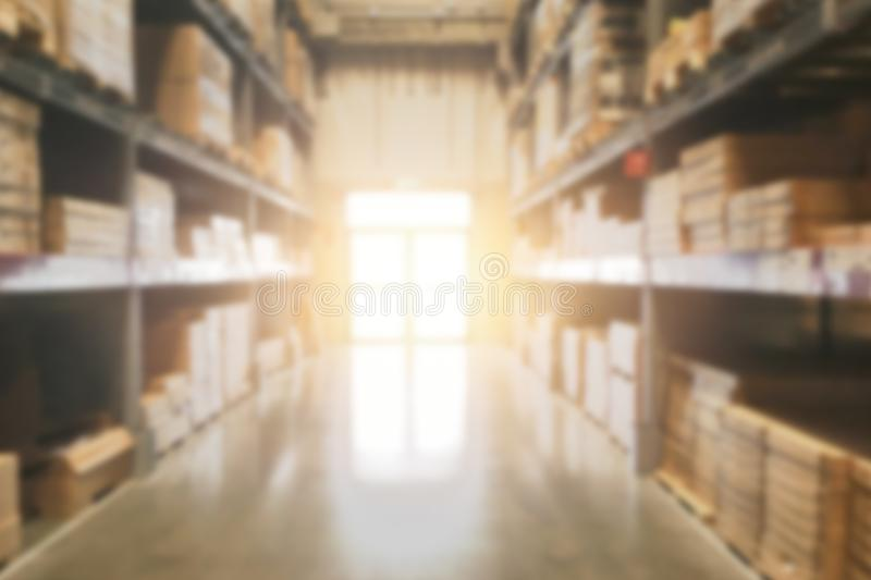 Blur Warehouse Stock inventory product storage for shipping royalty free stock photography