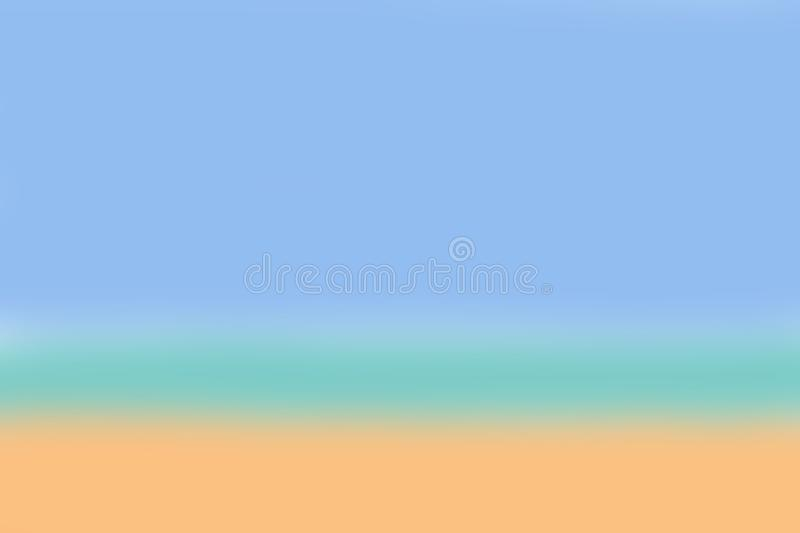 Blur yellow sand, green sea, blue sky tropical beach background design for web, banner, poster, card, brochure, wallpaper summer c stock illustration