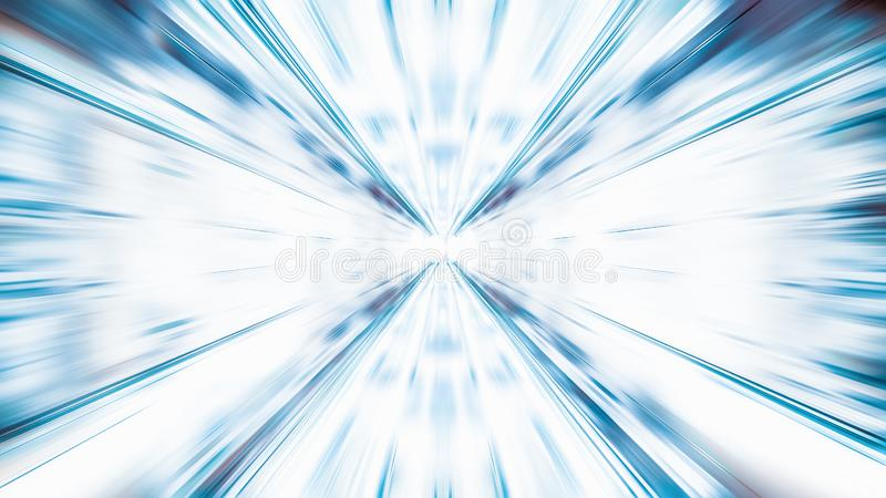 Blur zoom abstract background in blue and white, vanishing point diminishing perspective. Information technology, tech wallpaper stock photos