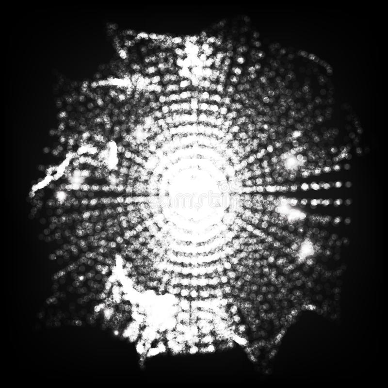 Blured分子微粒发光的小点连接 未来派技术样式 飞行点debrises 大数据球形 传染媒介Cy 库存例证