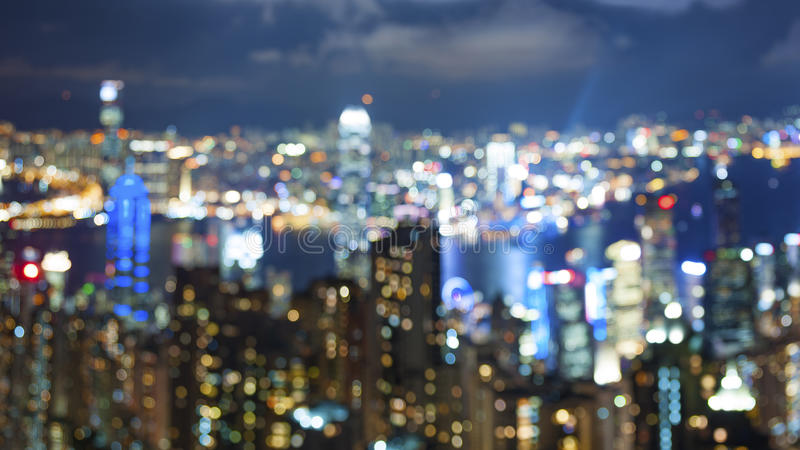 Blured city lights. From peak Victoria, Hong Kong royalty free stock image