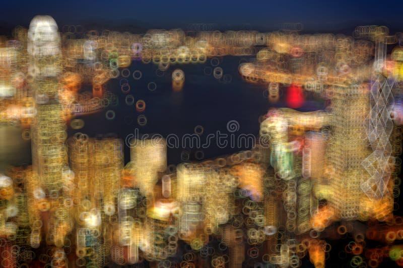 Blured lighhts από μέγιστη Βικτώρια, Χονγκ Κονγκ στοκ εικόνες