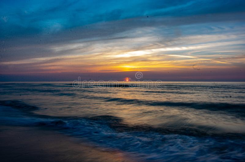 Blured sea. Long expouser of wave.  Baltic sea. summertime royalty free stock photos