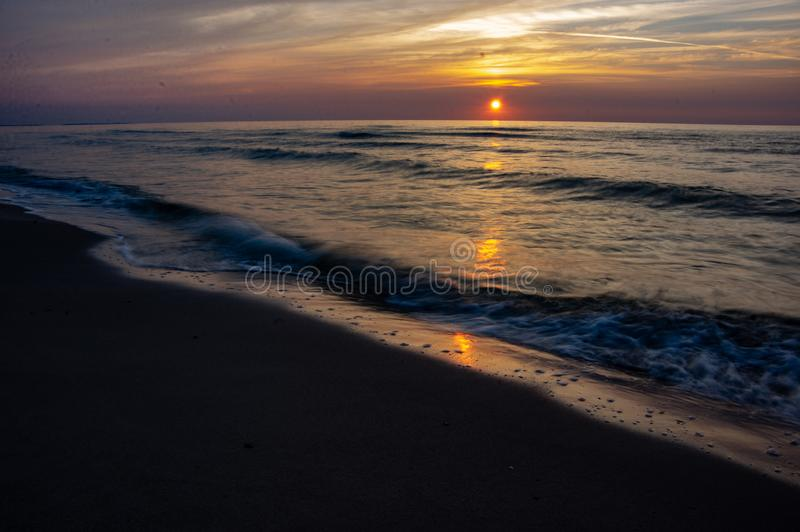 Blured sea. Long expouser of wave.  Baltic sea. summertime stock image