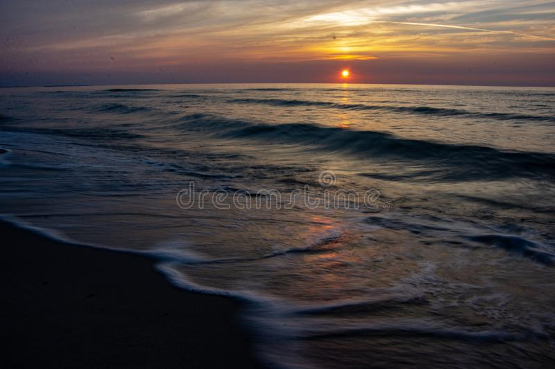 Blured sea. Long expouser of wave.  Baltic sea. summertime royalty free stock image