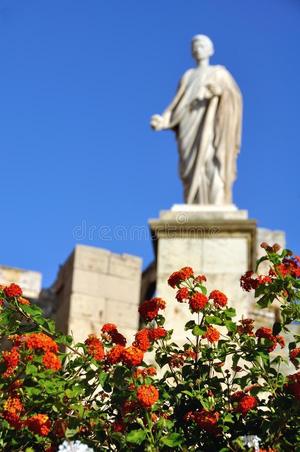 Download Blured Statue With Red Flowers At The Forefront Stock Photo - Image of roman, spanish: 27462590