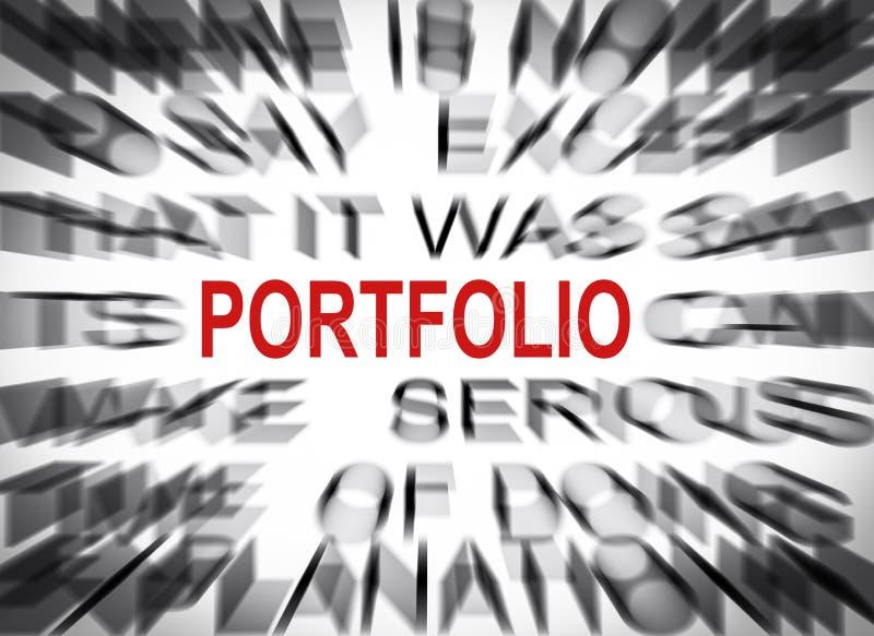 Blured tekst z ostrością na portfolio zdjęcie stock
