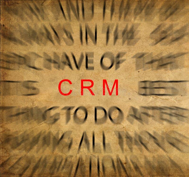Blured-Text auf Weinlesepapier mit Fokus auf CRM (Kunde Relatio lizenzfreies stockbild