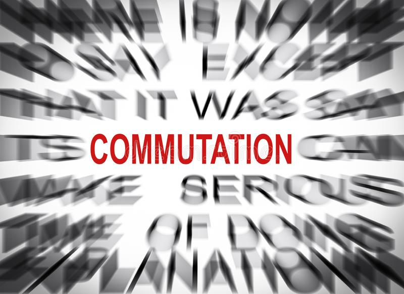 Blured text with focus on COMMUTATION stock photos