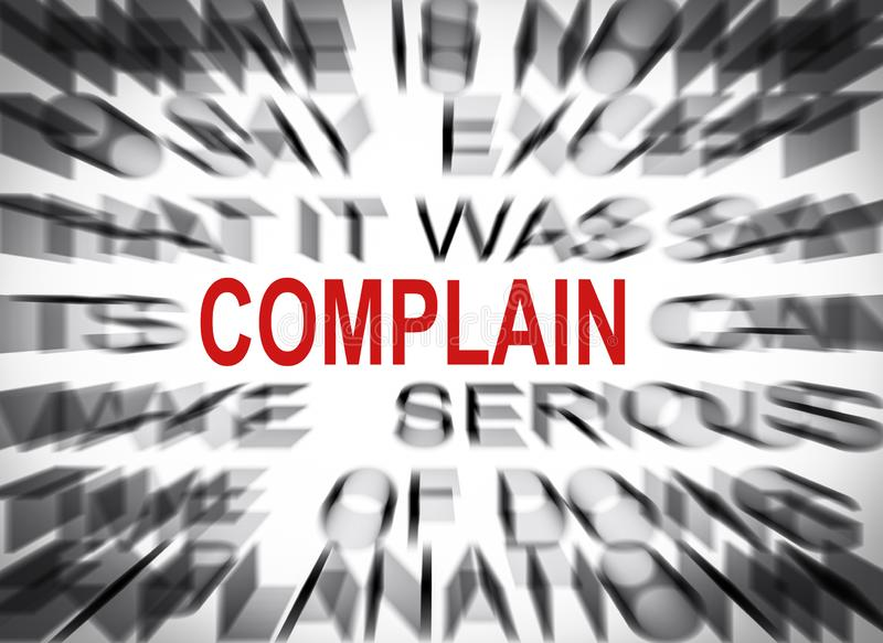 Blured text with focus on COMPLAIN royalty free stock images