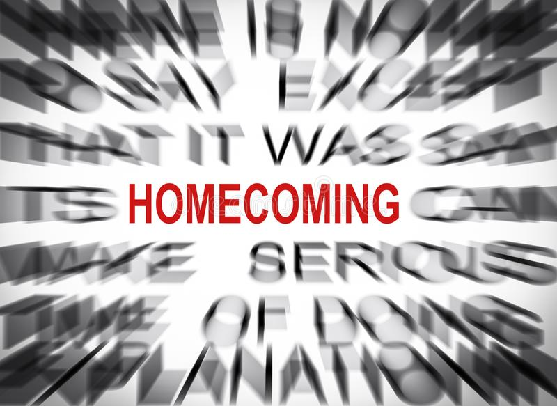Blured text with focus on HOMECOMING stock photography