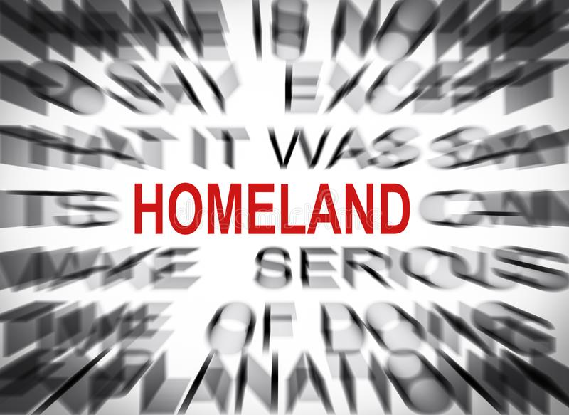 Blured text with focus on HOMELAND stock image