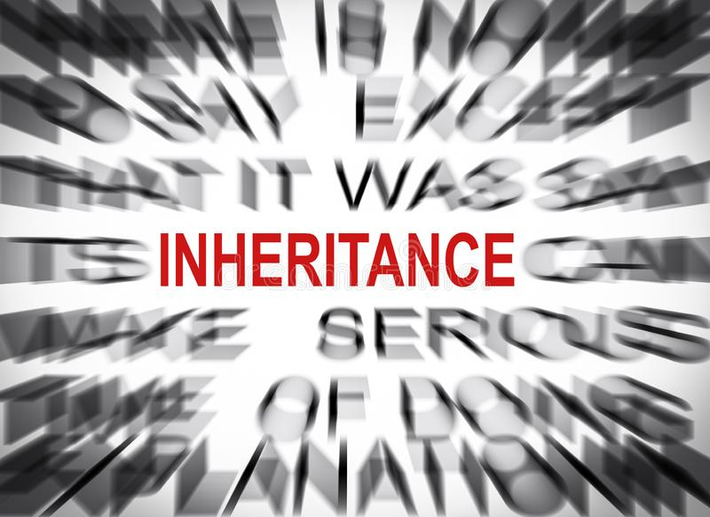 Blured text with focus on INHERITANCE royalty free stock photos