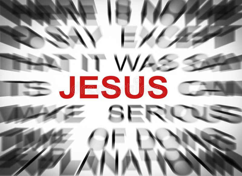 Blured text with focus on JESUS royalty free stock image