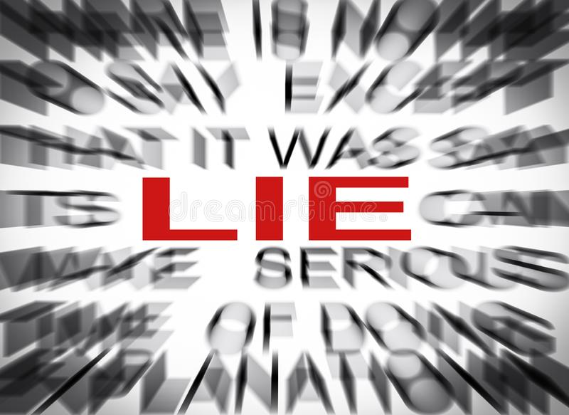 Blured text with focus on LIE royalty free stock image
