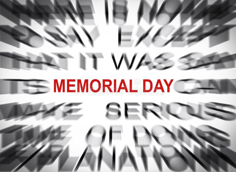 Blured text with focus on MEMORIAL DAY stock photo