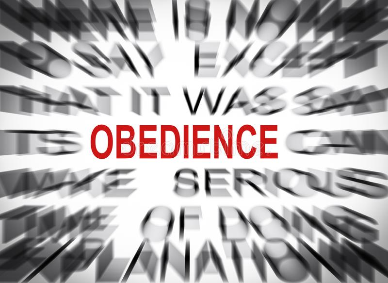 Blured text with focus on OBEDIENCE stock image