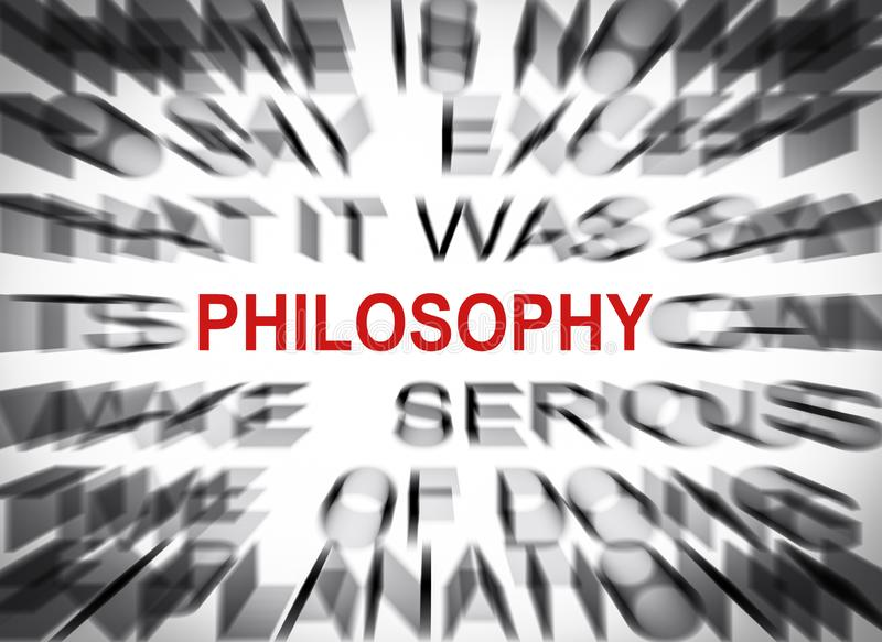 Blured text with focus on PHILOSOPHY stock photography