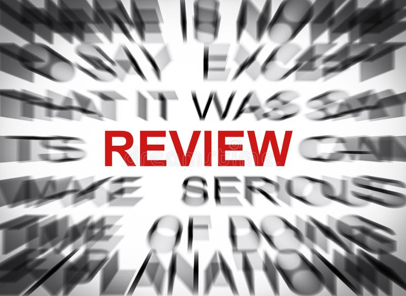 Blured text with focus on REVIEW royalty free stock photos