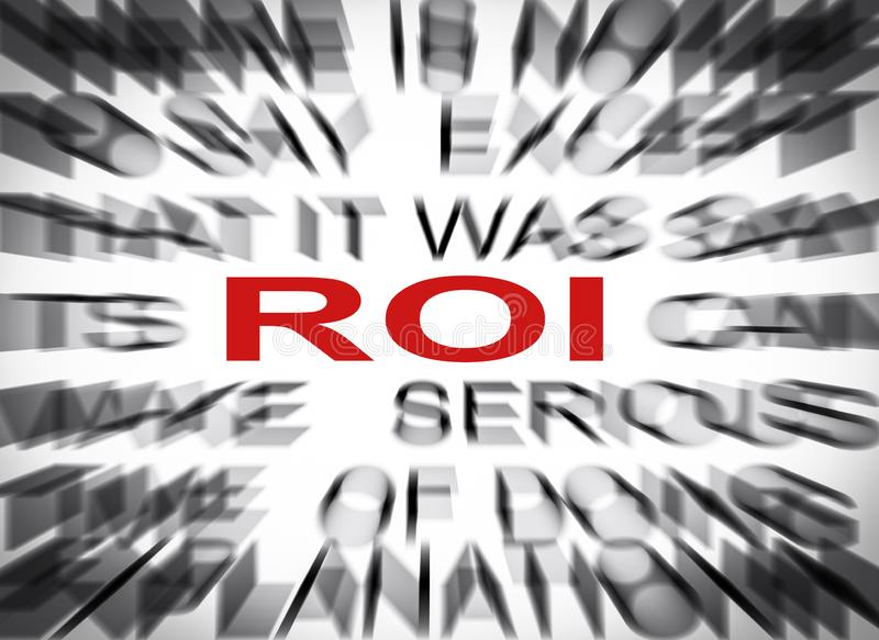 Blured text with focus on ROI stock image