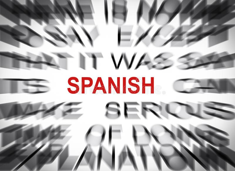 Blured text with focus on SPANISH stock photography