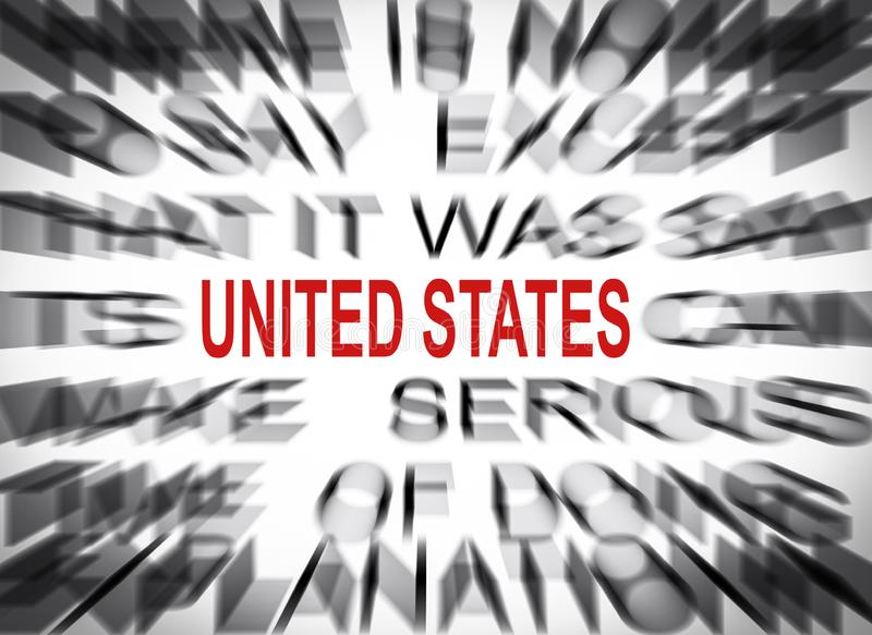 Blured text with focus on UNITED STATES royalty free stock image