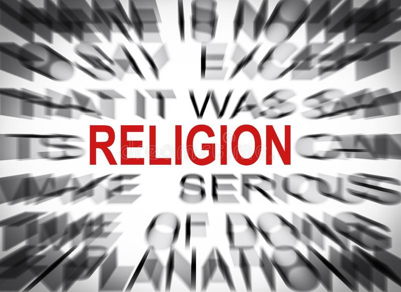 Blured text med fokusen på RELIGION royaltyfria foton