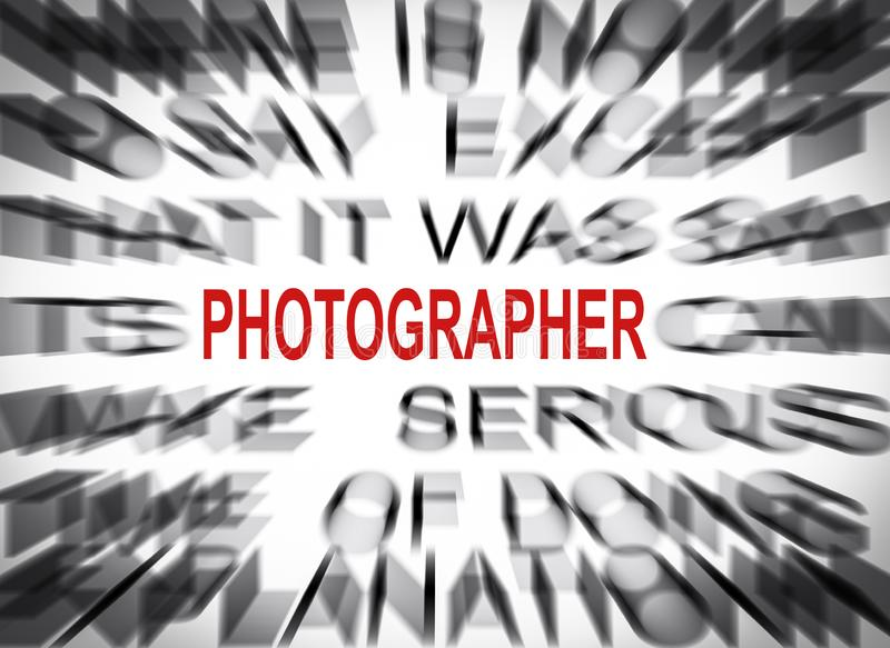 Blured-Text mit Fokus auf FOTOGRAFEN stockbild
