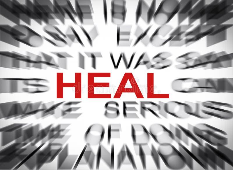 Blured-Text mit Fokus auf HEAL stockfoto