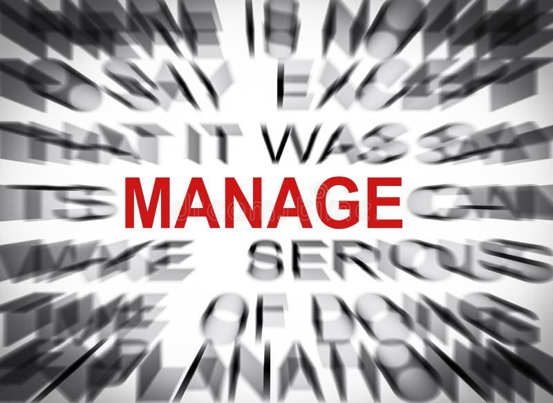 Blured-Text mit Fokus auf MANAGE lizenzfreie stockbilder