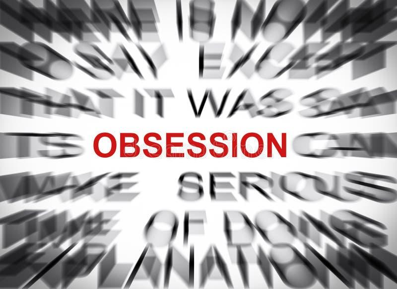 Blured-Text mit Fokus auf OBSESSION stockfotografie