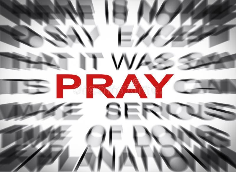 Blured-Text mit Fokus auf PRAY stockbild