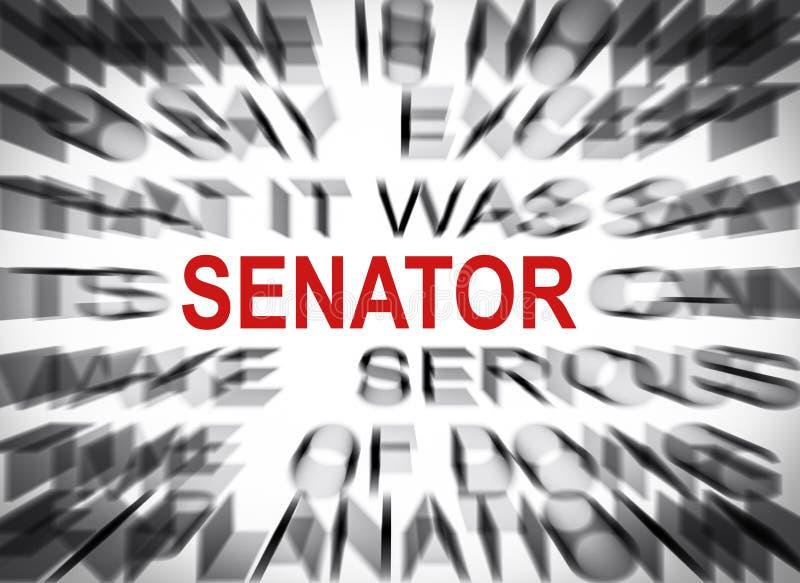 Blured-Text mit Fokus auf SENATOR stockfotografie
