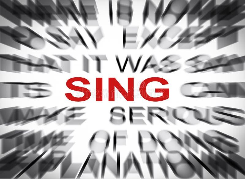 Blured-Text mit Fokus auf SING lizenzfreie stockfotos