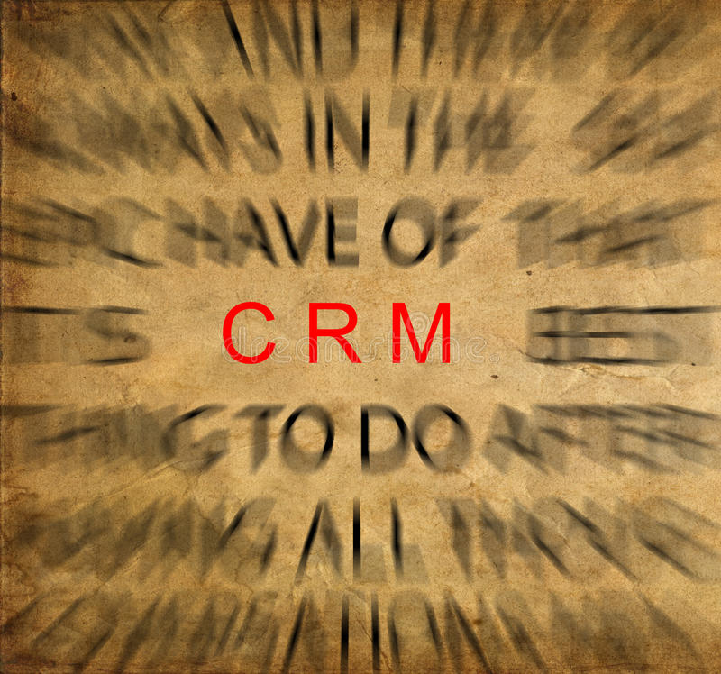 Blured text på tappningpapper med fokusen på CRM (kunden Relatio royaltyfri bild