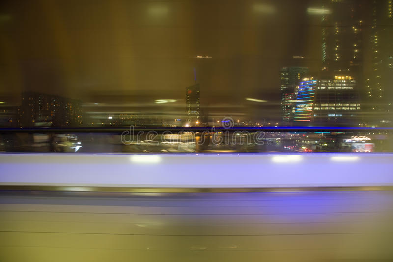Blured view from window on night city. Blured abstract view from window on night city royalty free stock photos