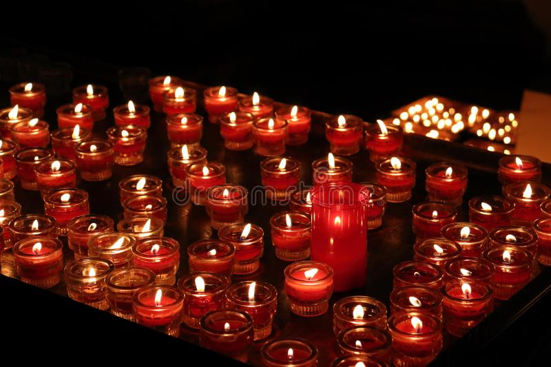 Blurr Candles in church in Salzburg in Austria. In Winter royalty free stock images