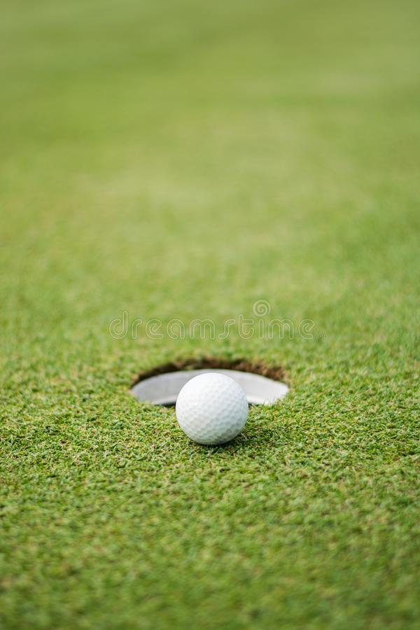Blurr Close up of golf ball. On green stock images